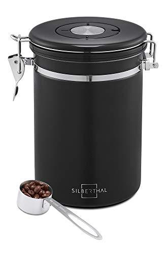 SILBERTHAL Kaffeedose 500g Edelstahl - luftdicht verschlossen - Aromadose für Kaffeebohnen, Kaffeepulver - Schwarz