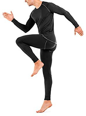 DAVID ARCHY Men's Thermal Underwear Ultra Soft Brushed Thermal Top and Bottom Long Johns Set Quick Dry Base Layer (M, Black)