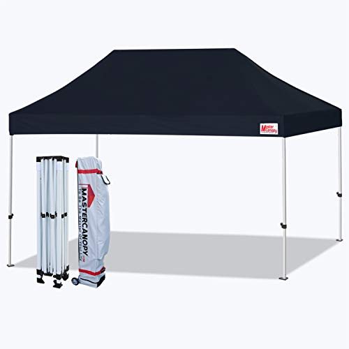MASTERCANOPY Pop Up Canopy Tent 10x15 Commercial Instant Canopies with Heavy Duty Roller Bag,Bonus 4 Canopy Sand Bags (10x15 Feet, Black)