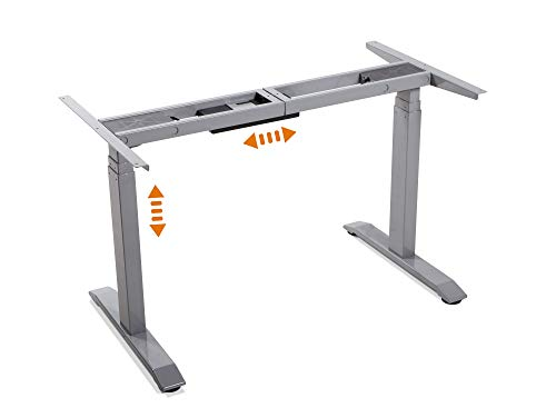 elektrisch höhenverstellbares Schreibtisch-Gestell TÜV geprüft Office One Tischgestell Memory-Steuerung für alle gängigen Tischplatten mit Softstart/-Stop, grau
