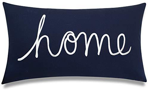 "DecorHouzz Home Sentiment Pillow Cover Embroidered Pillow Cases Throw Pillow Decorative Pillow Wedding Birthday Anniversary Gift 14""x24"" (Navy)"