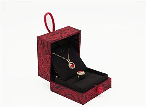 Miduo hochwertige Schmuckschatulle, Vintage-Platte, Knöpfe, Jade-Armband, mit Doppelring-Schmuckbox, Aufbewahrungsbox, Geschenk Ring-/Anhänger-Box.
