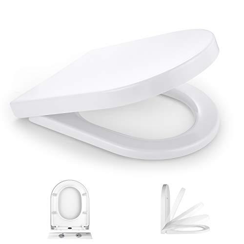 TACKLIFE WC Sitz Klassisch D-Form, antibakteriell mit Absenkautomatik, abnehmbar Toilettensitz, Edelstahl-Beklassisch ovalfestigung, Duroplast WC Deckel & Klo Brille Toilettendeckel