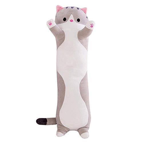 Huaxingda Peluche de gato de peluche, muñeca de gato de peluche, almohada de peluche para muñeca, cojín largo para dormir para gatos (gris 90 cm)