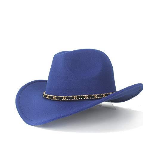 GAOERJI Elegante Winter Cowboyhoed wol General Western Fashion Western Cowboyhoed mode dames geweven riem Outside Male Jazz Hat (maat: 56-58cm)