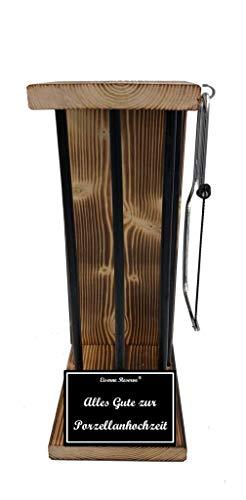 * Alles Gute zur Porzellanhochzeit - Eiserne Reserve ® Black Edition - Rohling zum SELBST BEFÜLLEN - Größe M - incl. Säge zum zersägen der Stäbe - Die Geschenkidee