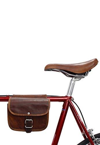 Gusti Leder nature Borsa da Bicicletta Sabine S. Doppia a Sacchetto Particolare da Lavoro in Vera Pella Vintage Pratica Grande Marrone A129b