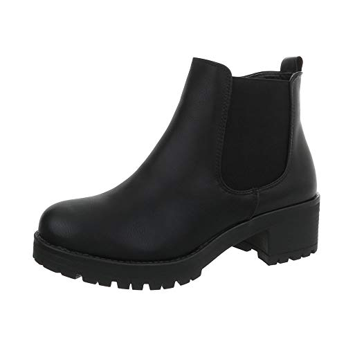 Ital-Design Damenschuhe Stiefeletten Chelsea Boots Synthetik Schwarz Gr. 39