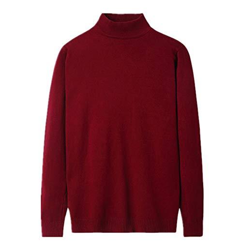 Suéter casual de cuello alto para hombre de color sólido