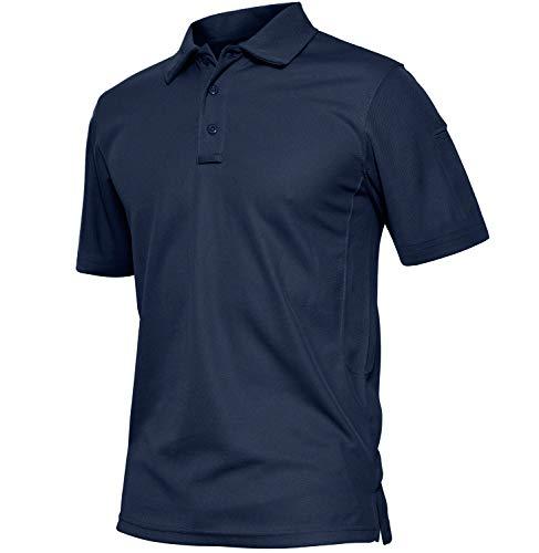 TACVASEN Camicie Uomo Maniche Corte Vintage T-Shirt da Golf Camicia Sportiva Sottile Traspirante Camicia Polo per Sport Estivi all'aperto Tennis Casual T Shirt Uomo Camicie Bleu Marin