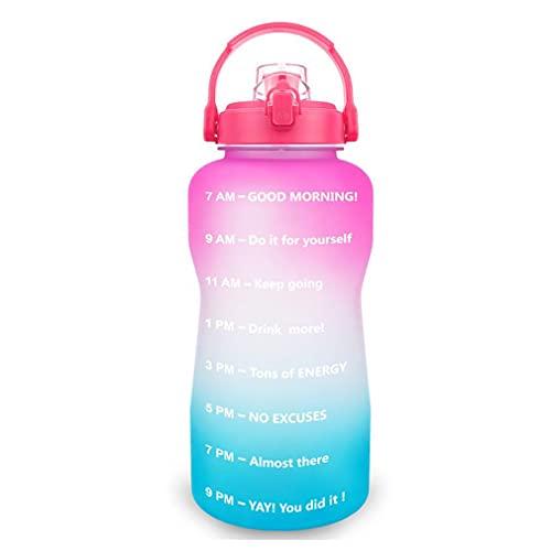 Botella de Agua Motivacional Sin BPA Deportes Fitness Gimnasio al Aire Libre Botella de Agua Botellas Transparentes Herramienta de Gimnasio Rosa a Azul 3800ML 125 * 325 mm