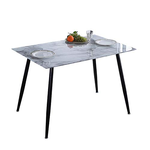 Adec - Suecia, Mesa de Comedor, Mesa Salon Fija Acabado en Efecto Marmol y Negro Medidas: 120 x 80 x 75 cm de Alto