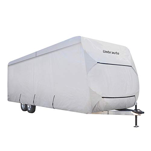 Umbrauto Travel Trailer RV Cover Thick 3 Layers Polypro Anti-UV Top Panel Waterproof Breathable Camper Covers Ripstop Fits 30' - 33' Travel Trailer
