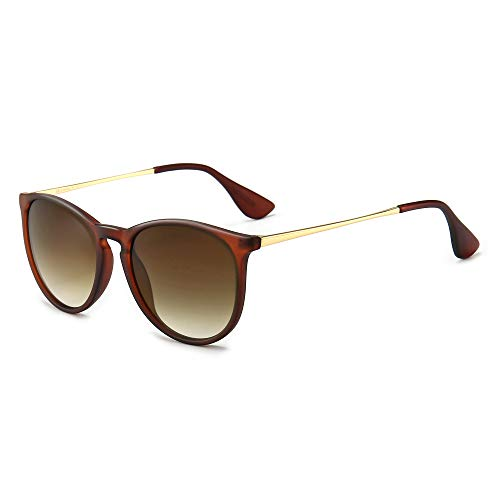SUNGAIT Vintage Round Sunglasses for Women Classic Retro Designer Style (Red Brown Frame(Matte Finish)/Brown Gradient Lens)