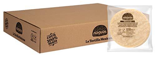 Tortillas de Maíz Mexicanas para Tacos y Fajitas Nagual. Caja de 12 Packs de 20 tortillas (240 unidades), 350 gr/paquete, 12cm, de maíz blanco nixtamalizado. Sin Gluten, apto para veganos y celiacos.