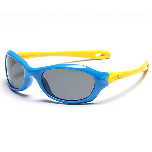 LAMZH Occhiali da Sole per Ragazzi Flessibili per Ragazzi Flessibili e Ragazze con Caso UV. Protezione Bambini da 3 a 12 (Color : Blue)