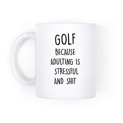 Regalo de golf, taza de café divertida, tazas para hombres, regalo para golfista, no puede adulto, adulto es estresante y , personalizada, madura, taza de café de 325 ml, taza de té, ideal como regalo