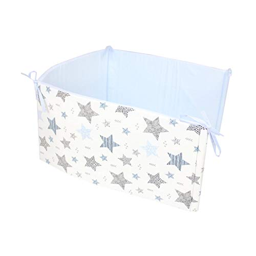 TupTam Protector para Cama de Bebé, Estrellas Azul/Negro, 180x30 cm (Cuna 120x60 cm)