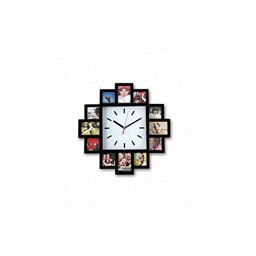 Orologio a parete con 12 porta foto in plastica 40 x 40...