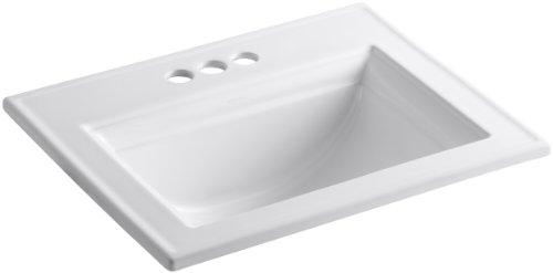 KOHLER K-2337-4-0 Memoirs Self-Rimming Bathroom Sink Sink with Stately Design, White - 22-3/4' x 18'