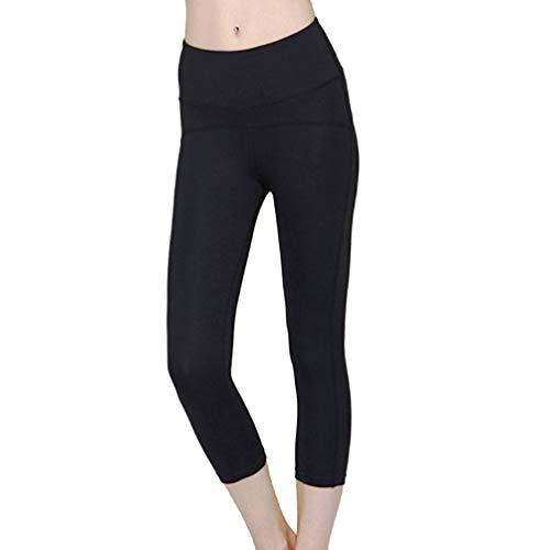 Garneck Frauen Sport Leggings High-Waist Stretch Workout Yoga Gym Fitness Trainingshose Laufhose für Laufübungen Joggings S Schwarz