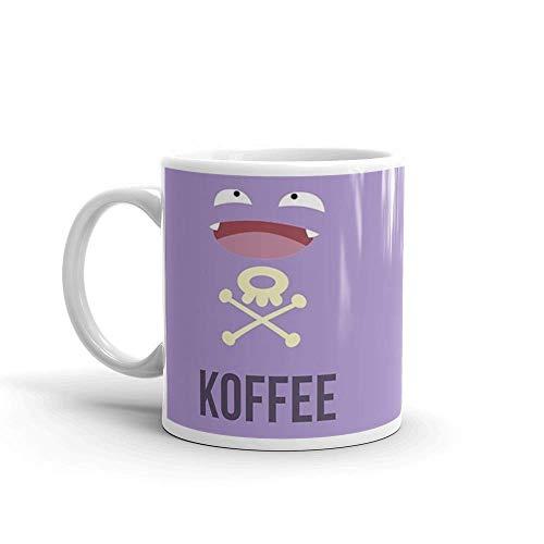 N\A Koffing Koffee. Tazas de café de cerámica de 11 oz con asa en Forma de C, cómodas de sostener. Tazas de cerámica Brillantes de 11 onzas de Regalo para Amantes del café