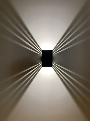 Lampada da parete per esterni ShineLED, 12 W, colore della luce bianco, alloggiamento nero, SpiceLED