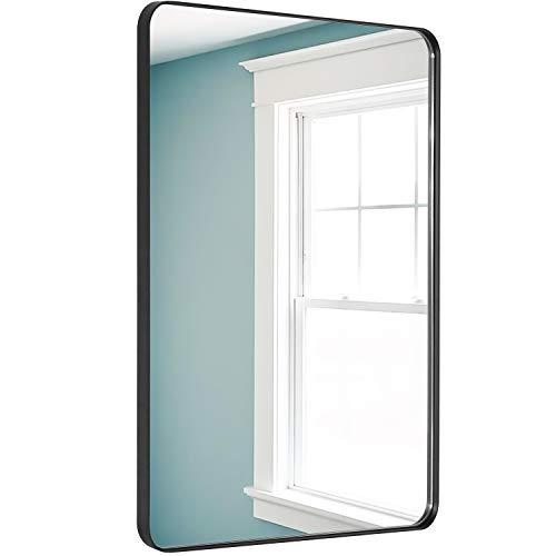 DOHEEM Wall Mirror for Bathroom - Rounded Corner Mirror Black Metal Frame 22' X 30' Hangs Horizontal Or Vertical