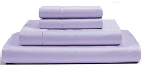 CHATEAU HOME COLLECTION 4-Piece Sheet Set 16 inch Deep Pockets (fits Upto 18' mattresses) 800 Thread Count 100% Egyptian Cotton Solid Sateen Weave Hotel Soft Comfort Bedding (Queen, Pale Lavender)