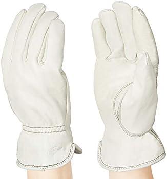 AmazonBasics Leather Work Gloves with Back Elastic