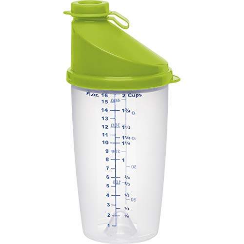 Emsa 513518 Superline Mixbecher mit Ausgussdeckel, Fassungsvermögen: 0,5 Liter, inklusive Mixscheibe, transparent/limette