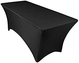 EL Event Linens 6 ft Stretch Tablecloth (Black) | Rectangular Spandex Table Cover-Tight Fit Linen-Fitted Tablecloth for DJ, Tradeshows, Vendors, Weddings, etc