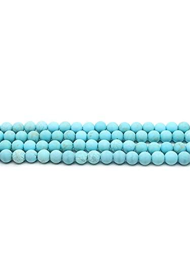 Perlas sueltas redondas de piedra turquesa azul natural mate para hacer joyas DIY pulsera 4 6 8 10 12 mm azul 8 mm aproximadamente 46 cuentas