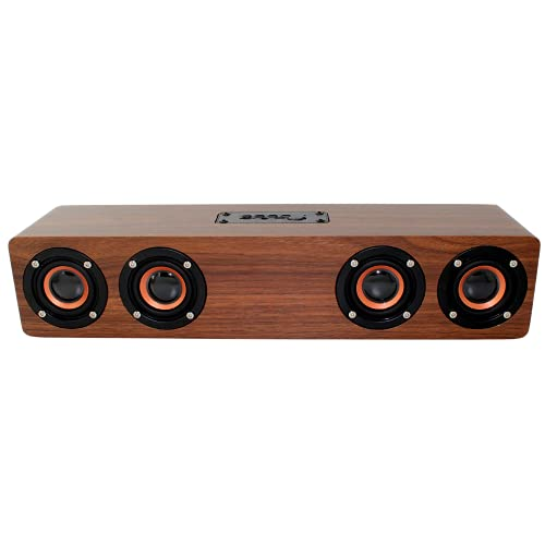 Ovegna Q5BT: Barra de sonido para cine en casa, de madera, inalámbrica, HiFi Bluetooth, 4 altavoces Surround, reloj LED, 20 W, batería 3000 mAh, conector Jack, TF, para SmartTV, Smartphone, PC