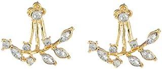 Women's Studs Rhinestones Inlay Leaf Shape Design Earrings Accessory