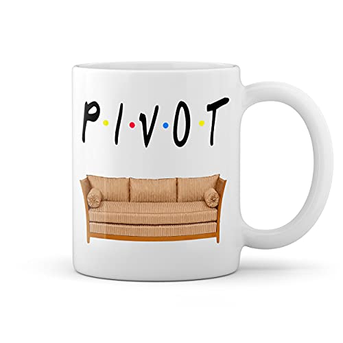 Friends Series Pivot Sofa Couch Fun Logo Blanco taza Mug