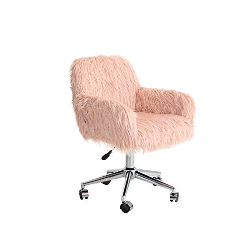 Sophia & William Home Office Chair Make-up Fluffy Chair Modern Office Chair Adjustable Ergonomic Executive Conference Chair Swivel Computer Desk Task Chairs with Armrest for Living Room, Pink