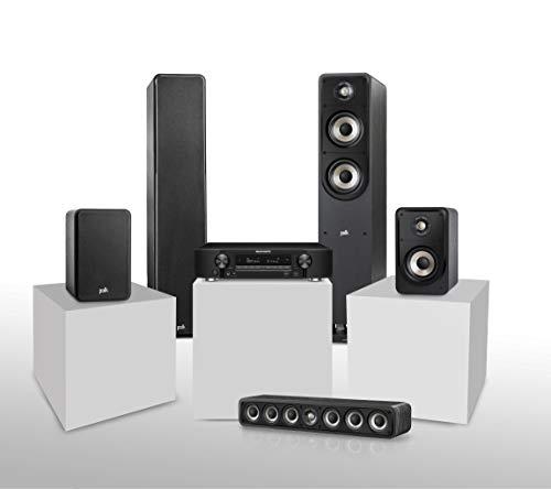 Marantz NR1710 kompakter 7.2-Kanal AV-Receiver (WiFi, Bluetooth, HDCP2.3, 4K, HEOS, Alexa kompatibel) schwarz + Polk Audio Signature E Series Lautsprecher Set 1 für Heimkino und Musik, schwarz