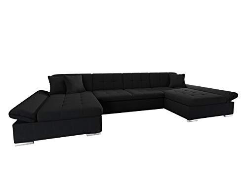 Mirjan24 Ecksofa Alia mit Regulierbare Armlehnen, 2 Bettkasten und Schlaffunktion, U-Form Eckcouch vom Hersteller, Sofa Couch Wohnlandschaft (Boss 14)