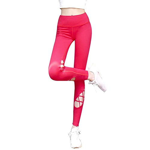 MAOYOU Yoga Workout Pants, Soft Lightweight Workout Running Womens Tesla Enght Power Flex Yoga Pants, High Waist Stretch Yoga Leggings Workout Pants,Red,XL