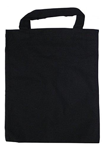 20 Baumwolltasche Mini schwarz 22x26 kurzer Henkel