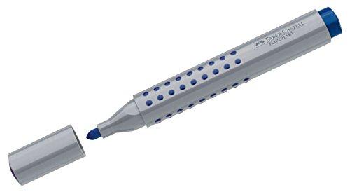 Faber-Castell Grip 153504 – Marqueur à pointe biseautée Marker Grip Flipchart à pointe ronde bleu