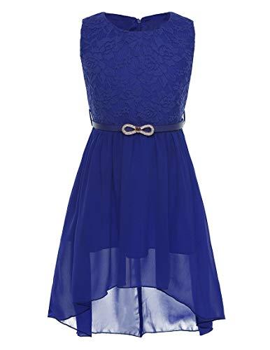iEFiEL Vestito da Cerimonia Bambina Principessa Elegante Abito da Sera Sposa Compleanno Party Damigella in Chiffon Senza Maniche con Cintura Rosso Blu Ragazza 6-14 Anni Blu 14 Anni