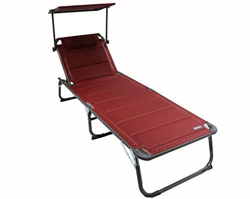 Homecall XXL Aluminium Sun Lounger with Sun Roof Three-Legged Beach bed 200x70 cm Maximum Load 150 kg, Red textilene, Quick Dry Foam