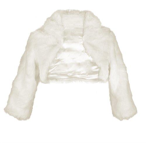 Flora Ivory Faux Fur 3/4 Long Sleeve Bridal Shrug/Wedding Jacket (Large)