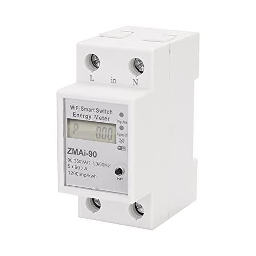 Monofásico Din Rail Wifi Medidor de energía inteligente Consumo de energía Kwh Meter Wattmeter Support La aplicación Smartlife/Tuya funciona con Alexa y Google Home