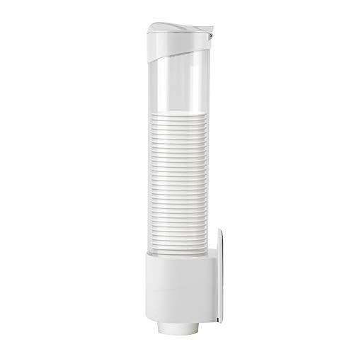 FTVOGUE - Dispensador de vasos de papel de 7,5 cm de largo, soporte de plástico antipolvo, 50 tazas, recipiente práctico