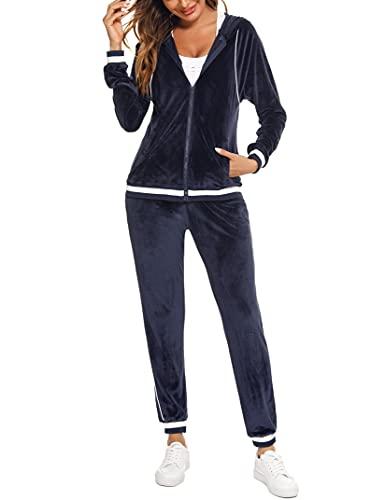 Wayleb Hausanzug Damen Velour Sportanzug Trainingsanzug Set Jogginganzug Schlafanzug 2 Teilig Freizeitanzug mit Langarm Zipper Jacke Hose Kordelzug Taschen Navy blau,XL