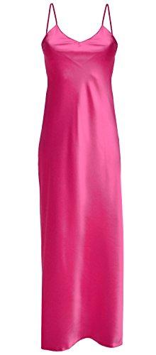 DKaren Nachtwäsche Damen Satin Nachthemd Lang Negligee Nachtkleid Spaghettiträger Kleid IGA (L, Pink)