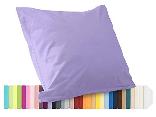 Schlafgut Mako Jersey Spannbetttuch 15001 oder  Kissenbezug 15101 - Baumwolle 406.463, flieder, Kissenbezug 40 x 40 cm